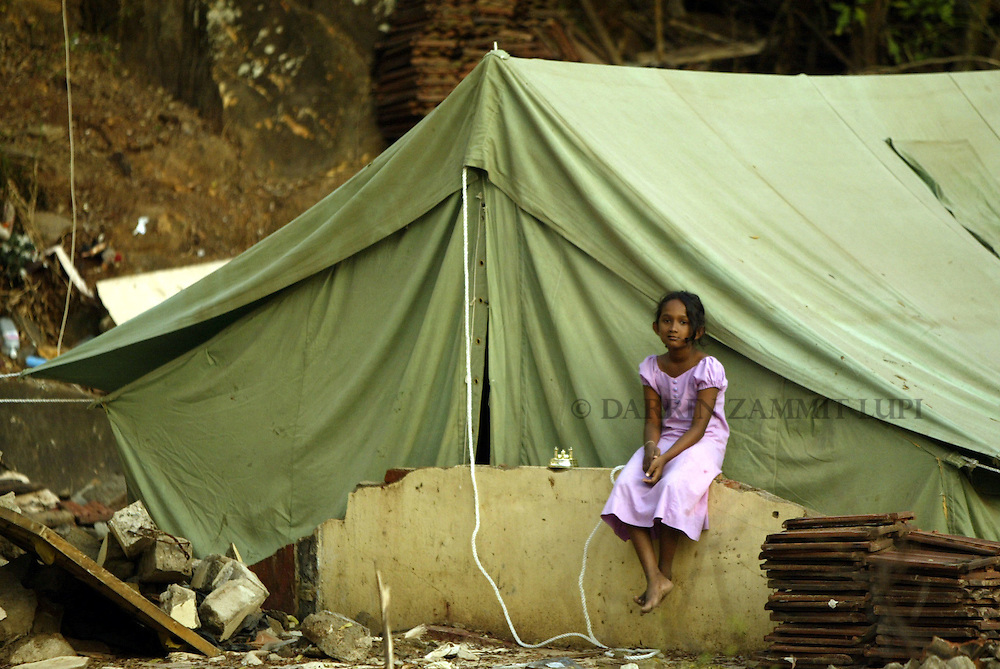 Tents provided by the UNHCR and other agencies are the only shelter for many families in the tsunami-devastated town of Galle on the south west coast of Sri Lanka on January 13, 2005..Photo by Darrin Zammit Lupi