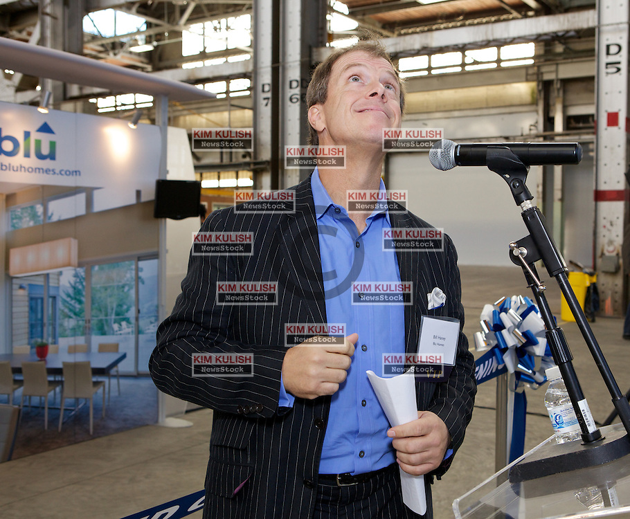 Bill Haney, Co-founder and President of Blu Homes  admires the ceiling as they  open their West Coast factory on Mare Island in Vallejo, California Dec. 1, 2011.  Over 400 guests attended a ribbon cutting ceremony at the 250,000-square-foot facility.