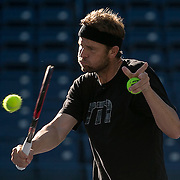 March 6, 2015, Indian Wells, California:<br /> Mardy Fish hits a backhand volley during a practice session at the Indian Wells Tennis Garden in Indian Wells, California Friday, March 6, 2015.<br /> (Photo by Billie Weiss/BNP Paribas Open)
