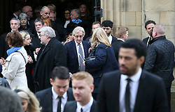 © Licensed to London News Pictures . 18/03/2016 . Manchester , UK. Guests including William Roache (pictured centre) leave following the service. Television stars and members of the public attend the funeral of Coronation Street creator Tony Warren at Manchester Cathedral . Photo credit : Joel Goodman/LNP