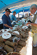 The market. Salami and Lonzo (smoked pork ham).