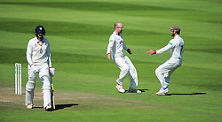 Jack Leach and Peter Trego of Somerset celebrate the wicket of Paul Coughlin,  - Mandatory by-line: Alex Davidson/JMP - 06/08/2016 - CRICKET - The Cooper Associates County Ground - Taunton, United Kingdom - Somerset v Durham - County Championship - Day 3