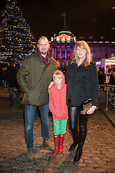 JACK DYSON & JADE PARFITT with her son JACKSON at the launch of Skate at Somerset House in association with Fortnum & Mason held at Somerset House, The Strand, London on 17th November 2015.