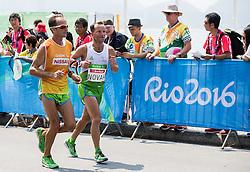 Blind Sandi Novak of Slovenia (with guide Roman Kejzar of Slovenia) competes at Men's Marathon - T12 Final during Day 11 of the Rio 2016 Summer Paralympics Games on September 18, 2016 in Copacabana beach, Rio de Janeiro, Brazil. Photo by Vid Ponikvar / Sportida