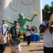 Cass Tech High School's six-student drum line kick off the festivities as Metro Detroiters celebrate the 50th Anniversary of the restored Spirit of Detroit Statue.