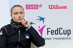Tina Pisnik during press conference of Team Slovenia before playing in Zone Group 1 of Fed Cup tournament in Budapest on January 29, 2014 in BTC City, Ljubljana, Slovenia. Photo by Vid Ponikvar / Sportida