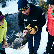 Andrew McCarthy explains about how Caddis Fly lays eggs on rocks in the stream in Yellowstone National Park.