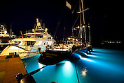 Moonbird docked at night at the Yacht Club Costa Smeralda during the Dubois Cup regatta.