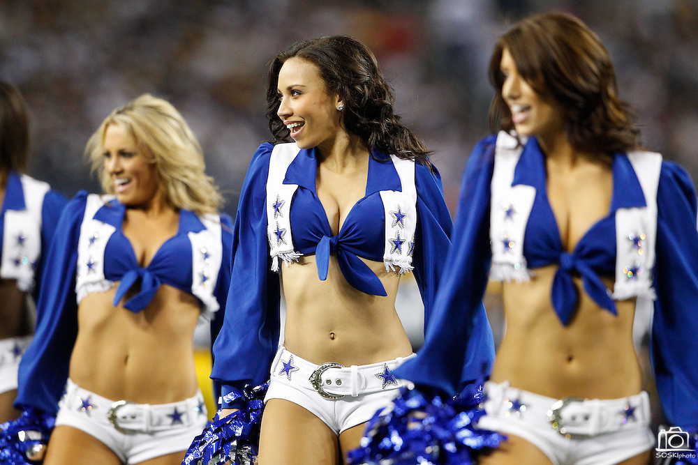 Dallas Cowboys cheerleaders perform during a time out against the Pittsburgh Steelers at Cowboys Stadium in Arlington, Texas, on December 16, 2012.  (Stan Olszewski/The Dallas Morning News)
