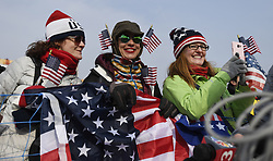 February 18, 2018 - Pyeongchang, South Korea - US fans wait for a glimpse of Nick Goepper of the United States after he won silver in Mens Ski Slopestyle Sunday, February 18, 2018 at Phoenix Snow Park at the Pyeongchang Winter Olympic Games.  Photo by Mark Reis, ZUMA Press/The Gazette (Credit Image: © Mark Reis via ZUMA Wire)