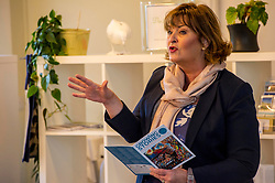 Pictured:  Fiona Hyslop<br /> <br /> Fiona Hyslop MSP. Cabinet Secretary for Culture, Tourism &amp; External Affairs today previewed the 2018 festival, which looks at the future of storytelling in Scotland, nurturing local roots, reaching out globally and celebrating Celtic traditions shared by Scotland and Ireland. During her preview Ms Hyslop met festival director Donald Smith, David Mitchell of Scotland's Garden Scheme, and storytellers Miriam Morris and Daniel Allison.