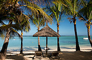 Palm trees and a white sand beach near the Lux le Morne Hotel, on  Le Morne Brabant Peninsula Mauritius, The Indian Ocean