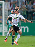 (L) Adam Kokoszka of Slask Wroclaw fights for the ball with (R) Legia's Marek Saganowski during soccer Polish Cup Final between Legia Warsaw and Slask Wroclaw at Pepsi Arena in Warsaw, Poland...Poland, Warsaw, May 08, 2013..Picture also available in RAW (NEF) or TIFF format on special request...For editorial use only. Any commercial or promotional use requires permission...Photo by © Adam Nurkiewicz / Mediasport