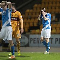 St Johnstone v MotherwellÖ17.12.16     McDiarmid Park    SPFL<br /> Blair Alston holds his head after missing a late chance to score<br /> Picture by Graeme Hart.<br /> Copyright Perthshire Picture Agency<br /> Tel: 01738 623350  Mobile: 07990 594431