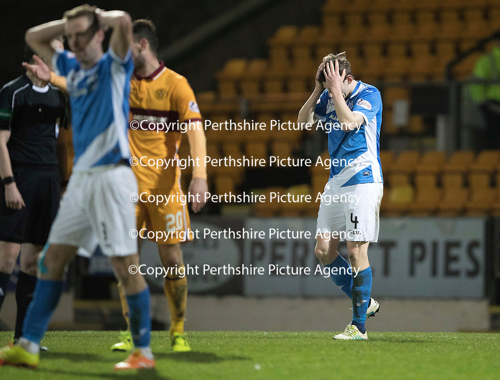 St Johnstone v Motherwell&Ouml;17.12.16     McDiarmid Park    SPFL<br /> Blair Alston holds his head after missing a late chance to score<br /> Picture by Graeme Hart.<br /> Copyright Perthshire Picture Agency<br /> Tel: 01738 623350  Mobile: 07990 594431