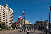 Palacio la Moneda and Plaza de la Constitucion, Santiago, Chile. Offices of the President of Chile.