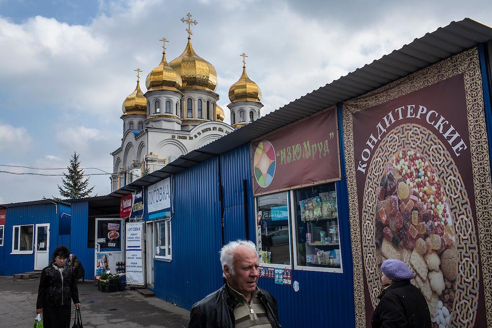 Saint Pokrovsky Russian Orthodox Church on Thursday, October 16, 2014 in Donetsk, Ukraine. Photo by Brendan Hoffman, Freelance