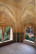 Balcony of Lindaraja, Los Leones palace, Alhambra monument (711-1492), Granada,Andalucia,Spain,Europe