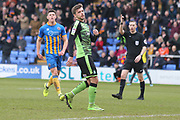*Graham Carey of Plymouth Argyle (10) misses a penalty kick** during the EFL Sky Bet League 1 match between Shrewsbury Town and Plymouth Argyle at Greenhous Meadow, Shrewsbury, England on 10 February 2018. Picture by Mick Haynes.