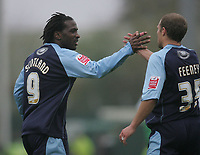 Photo: Lee Earle.<br /> Yeovil Town v Swansea City. Coca Cola League 1. 27/10/2007.  Swansea's Warren Feeney (R) congratulates Jason Scotland after he scored their opening goal.