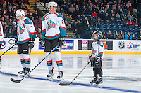 KELOWNA, CANADA - DECEMBER 30: Lucas Johansen #7 and Braydyn Chizen #22 of the Kelowna Rockets line up with the Pepsi Player against the Victoria Royals on December 30, 2016 at Prospera Place in Kelowna, British Columbia, Canada.  (Photo by Marissa Baecker/Shoot the Breeze)  *** Local Caption ***