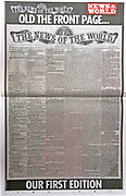 The 'News of the World' Newspaper 10th July 2011. The commemorative final edition of the newspaper, carries a facsimile of the first edition of 1843