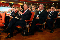 © Licensed to London News Pictures. 10/10/2012. Birmingham, UK Mayor of New York, Michael Bloomberg (L), sits in the audience at The Conservative Party Conference at the ICC today 10th October 2012. Photo credit : Stephen Simpson/LNP