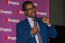 © Licensed to London News Pictures . 27/09/2015 . Brighton , UK . VAUGHAN GETHING AM speaks at a Progress Rally fringe event at screen one of the Odeon Cinema on Brighton seafront , during the 2015 Labour Party Conference . Photo credit : Joel Goodman/LNP