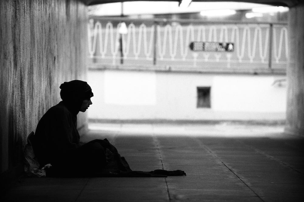 Begging in a pedestrian underpass, Birmingham, West Midlands, England, UK.