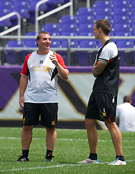 BALTIMORE, MD - Friday, July 27, 2012: Liverpool's manager Brendan Rodgers and Daniel Agger during a training session ahead of the pre-season friendly match against Tottenham Hotspur at the M&T Bank Stadium. (Pic by David Rawcliffe/Propaganda)