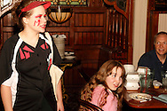 "Heather Gorby as Charlotte Screamer (left) during Mayhem & Mystery's production of ""Baseball Battle"" at the Spaghetti Warehouse in downtown Dayton, Monday, May 7, 2012."