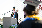 Cal Hills Class of 2012 senior Leo Gervacio leads the Pledge of Allegiance at graduation on June 15, 2012.  Photo by Stan Olszewski/SOSKIphoto.