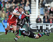 Twickenham, GREAT BRITAIN, Quins, Mike BROWN with a flying tackle, on Gloucester full back, Ian BALSHAW, during the first half of the Guinness Premiership match, Harlequins vs Gloucester Rugby at the Twickenham Stoop.  Sat. 23rd Feb 01.03.2008.  [Mandatory Credit, Peter Spurrier/Intersport-images]