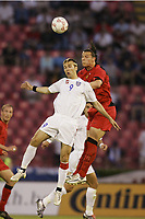 FOOTBALL - WORLD CUP 2006 - QUALIFYING ROUND - GROUP 7 - SERBIA MONTENEGRO v BELGIUM - 04/06/2005 - DANIEL LJUBOJA (SER) / DANIEL VAN BUYTEN (BEL) <br />