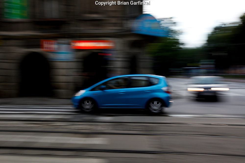 A car drives on the street in Krakow, Poland on Monday July 4th 2011.  (Photo by Brian Garfinkel)