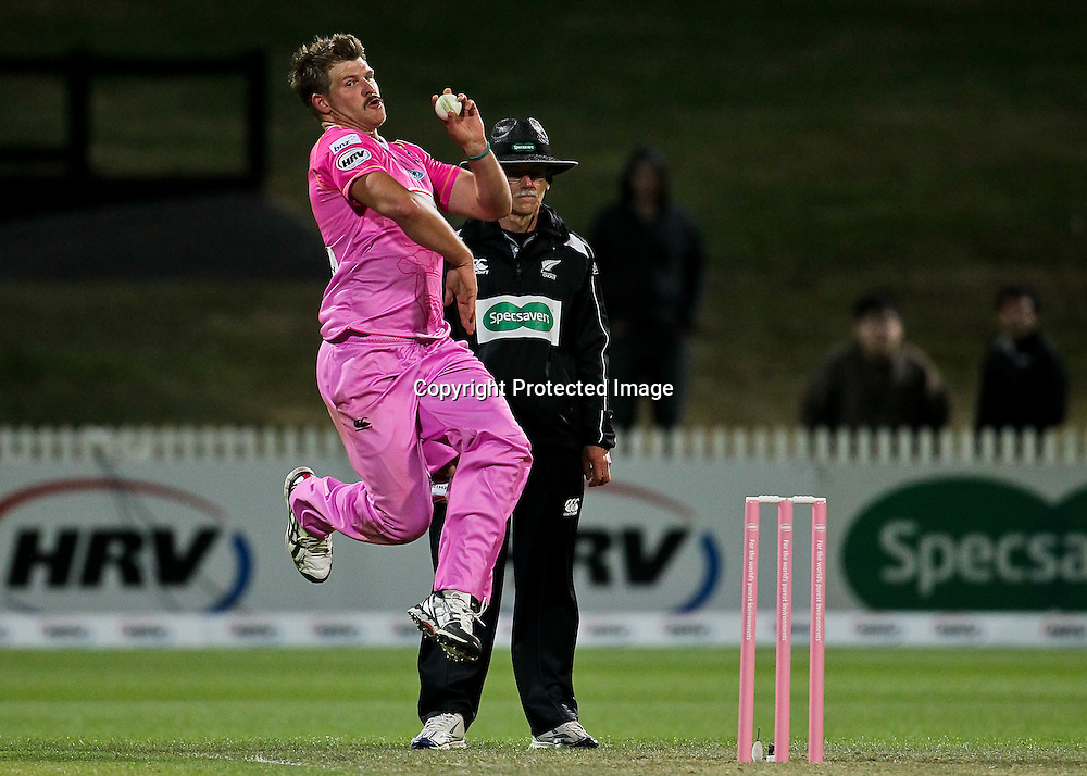 Northern Knight's Corey Anderson bowling during the HRV Cup - Northern Knights v Canterbury Wizards, Seddon Park, Hamilton.  30 November 2012.  Photo:  Bruce Lim / photosport.co.nz