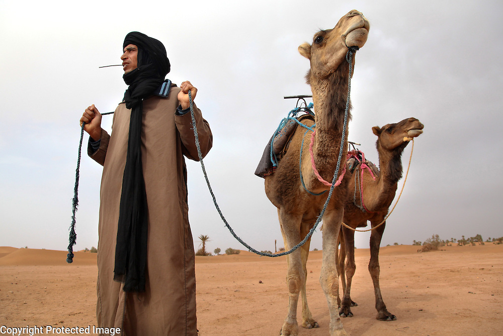 A'arib nomad, Nordin Banna, is photographed with his camels in the Sahara desert near the small town of M'Hamid, Morocco. M'Hamid is the last town in the Draa Valley before reaching the Sahara.