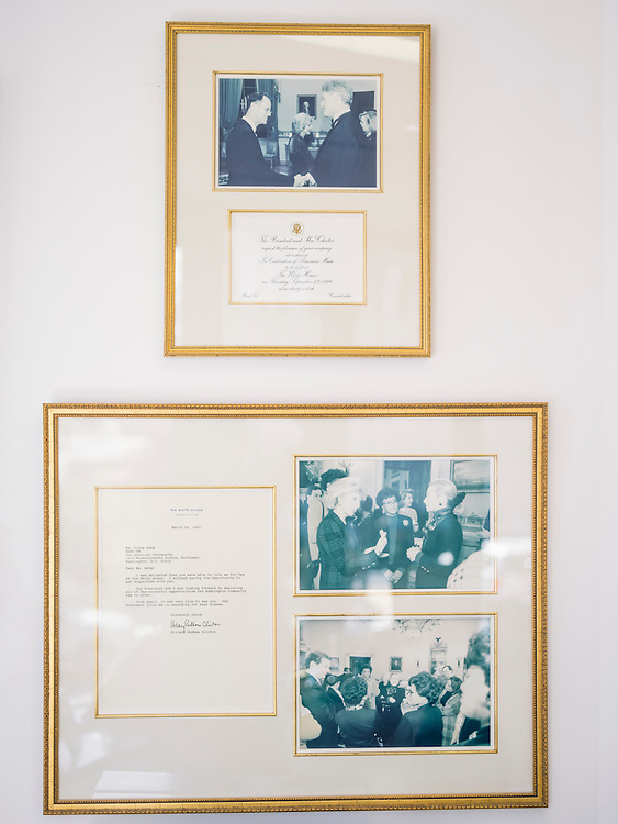 Drawings and memorabilia, including one from President Bill Clinton and another from Hillary Rodham Clinton, on the wall of Diane Rehm's office in Washington, D.C.