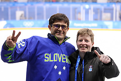 GANGNEUNG, SOUTH KOREA - FEBRUARY 17: Natasa Pagon, linesman of Slovenia with Matjaz Rakovec, president of HZS, during the ice hockey match between Slovenia and Slovakia in  the Preliminary Round on day eight of the PyeongChang 2018 Winter Olympic Games at Kwangdong Hockey Centre on February 17, 2018 in Gangneung, South Korea. Photo by Kim Jong-man / Sportida