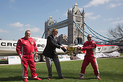 © Licensed to London News Pictures. 23/04/2013. London, England. L-R: Drivers Ashley Mihell, Markus Hendicks (GER) and John Cooke fighting for the Guernsey Gold Cup. The Venture Cup, the World's longest, toughest and most prestigious powerboat race today announced plans to start its race in London on the Thames in 2014. The Venture Cup Prologue, a test race, will be held from 5-8 June 2013. Photo credit: Bettina Strenske/LNP