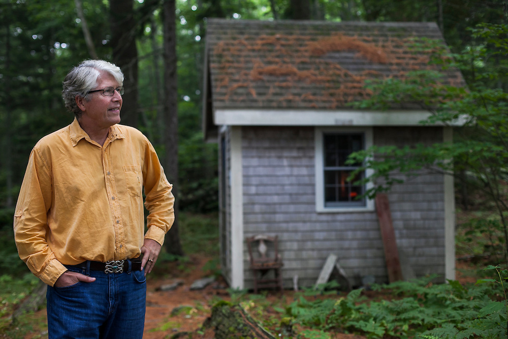 PEMAQUID POINT, MAINE – JULY 30, 2014:  Douglas Preston, a bestselling author with Hachette Publishing, at the shack he uses as a writing space. Preston has become a leading opponent of Amazon in the conflict between retailer and publishers. <br /> <br /> Credit: Craig Dilger for The New York Times