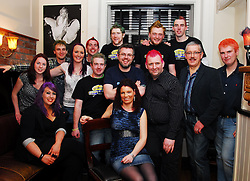 A group from Allergan Westport who are taking part in Today Fm's Shave or Dye campaign pictured last week in The West Bar...Pic Conor McKeown