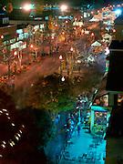 Night street scene of lit Jack o Lanterns on  Main Street, Keene Pumpkin Festival.