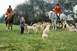 Cottesmore Foxhounds prepare to set off, Leicestershire, England, UK, 22/02/1992.