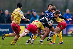 Bristol Rugby Outside Centre Gareth Maule is tackled by Scarlets XV Flanker Stuart Worrall - Mandatory byline: Rogan Thomson/JMP - 17/01/2016 - RUGBY UNION - Clifton Rugby Club - Bristol, England - Scarlets Premiership Select XV v Bristol Rugby - B&I Cup.