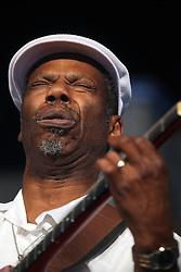 28 April 2012. New Orleans, Louisiana,  USA. .New Orleans Jazz and Heritage Festival. .Blues legend Walter 'Wolfman' Washington..Photo; Charlie Varley.