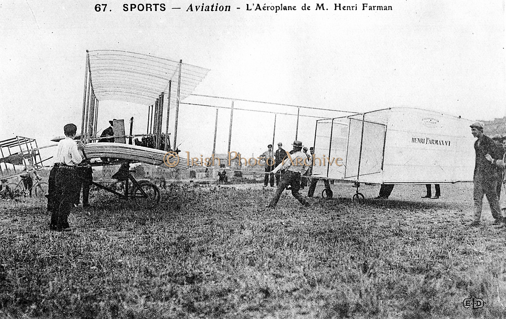 Henri Farman (1874-1958), French aviator and aircraft constructor. Farman's  biplane No 1. From a photograph.