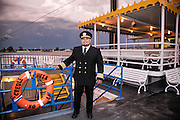 Captain Don Rojas on deck of the Creole Queen riverboat docked along the downtown Mississippi Riverfront; CEO in New Orleans on April 30, 2016