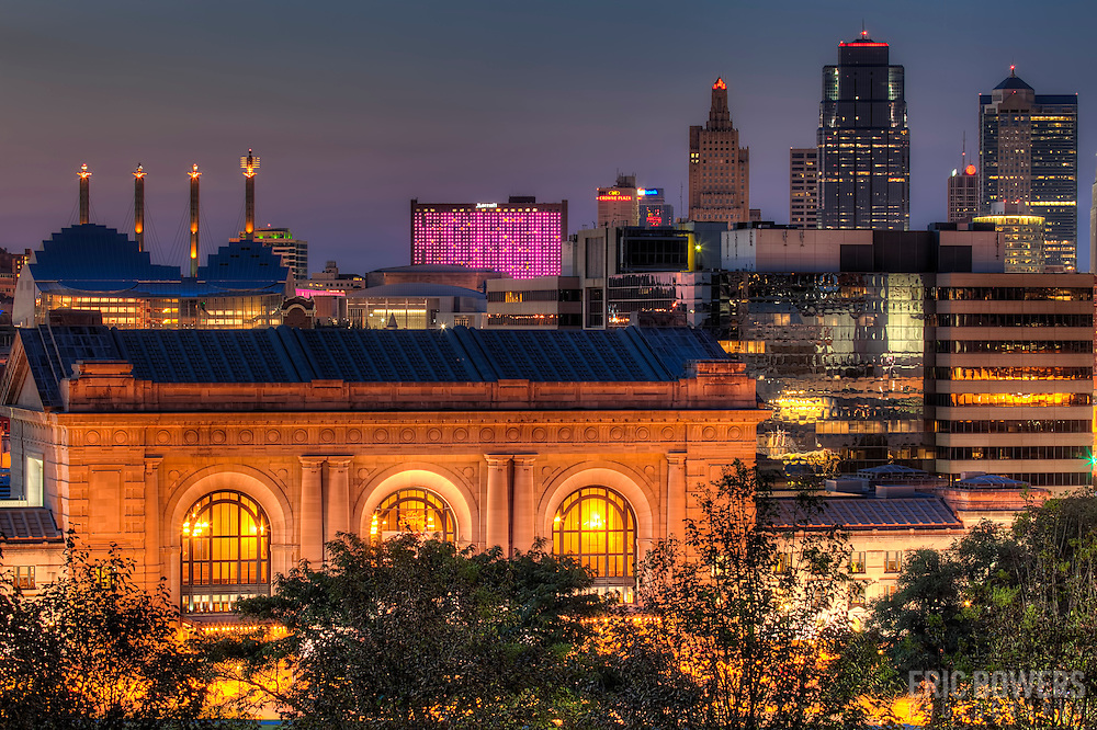 Union Station and Downtown Kansas City Missouri at sunset in August 2011.