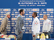 Wladimir Klitschko announces his Heavyweight unification fight against WBA HEavyweight Champion David Haye of England. The fight will fianlly take place afte two years of negotiations at the Imtech-Arena on the 2nd July.